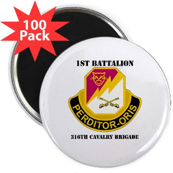 "1B316CB - M01 - 01 - DUI - 1st Battalion - 316th Cavalry Brigade with Text 2.25"" Magnet (100 pack)"
