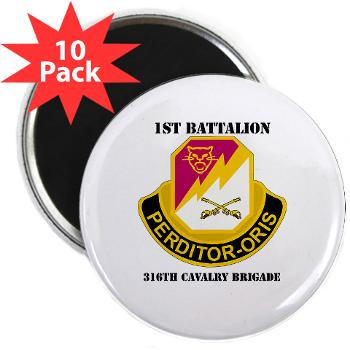"1B316CB - M01 - 01 - DUI - 1st Battalion - 316th Cavalry Brigade with Text 2.25"" Magnet (10 pack)"