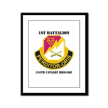 1B316CB - M01 - 02 - DUI - 1st Battalion - 316th Cavalry Brigade with Text Framed Panel Print