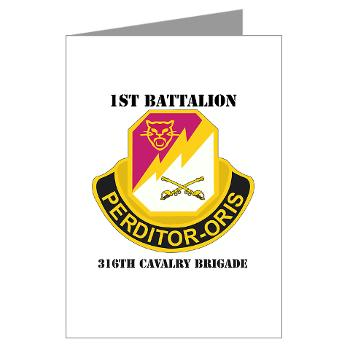 1B316CB - M01 - 02 - DUI - 1st Battalion - 316th Cavalry Brigade with Text Greeting Cards (Pk of 10)