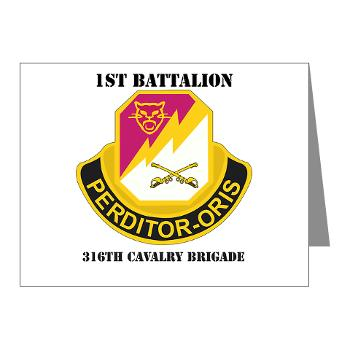 1B316CB - M01 - 02 - DUI - 1st Battalion - 316th Cavalry Brigade with Text Note Cards (Pk of 20)