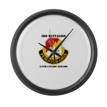 3BN316CB - M01 - 03 - DUI - 3BN - 316th Cavalry Brigade with Text - Large Wall Clock