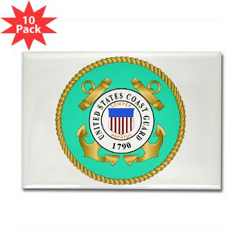 EMBLEMUSCG - M01 - 01 - EMBLEM - USCG - Rectangle Magnet (10 pack)