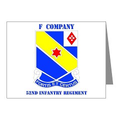 FC52IR - M01 - 02 - DUI - F Company - 52nd Infantry Regiment Note Cards (Pk of 20)