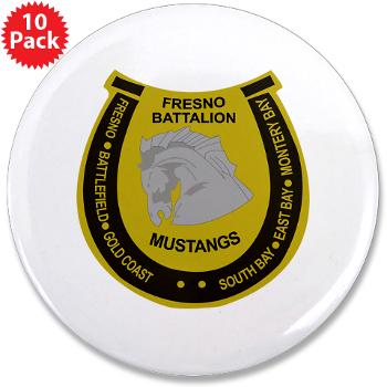 "FRB - M01 - 01 - DUI - Fresno Recruiting Battalion ""Mustangs"" - 3.5"" Button (10 pack)"