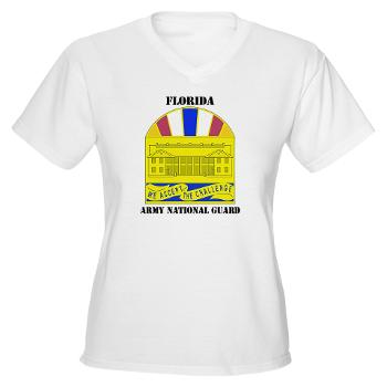 FloridaARNG - A01 - 04 - DUI - Florida Army National Guard With Text - Women's V-Neck T-Shirt