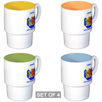 GeorgiaARNG - M01 - 03 - DUI - Georgia Army National Guard with text - Stackable Mug Set (4 mugs)