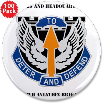 "HHC166AB - M01 - 01 - HHC - 166th Aviation Brigade with Text - 3.5"" Button (100 pack)"