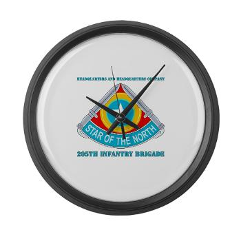HHC205IB - M01 - 03 - HHC - 205th Infantry Brigade with text - Large Wall Clock