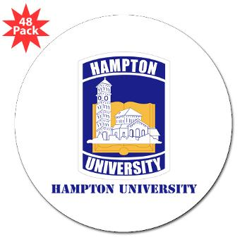 "HU - M01 - 01 - ROTC - Hampton University with Text - 3"" Lapel Sticker (48 pk)"