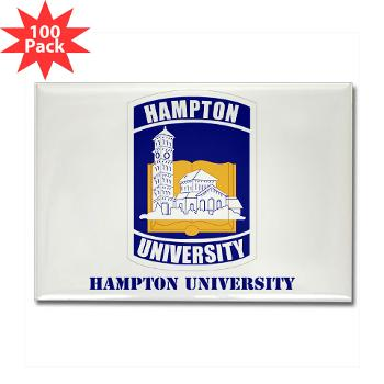 HU - M01 - 01 - ROTC - Hampton University with Text - Rectangle Magnet (100 pack)