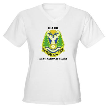 dahoARNG - A01 - 04 - DUI - Idaho Army National Guard with text - Women's V-Neck T-Shirt