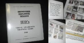 "Improvised Explosive Devices, IED's Visual Awareness Guide, 8.5"" x 11"" Full Poster set (3 ring binder)"