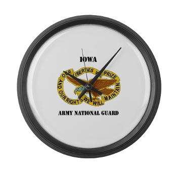 IowaARNG - M01 - 03 - DUI - IOWA Army National Guard with Text - Large Wall Clock