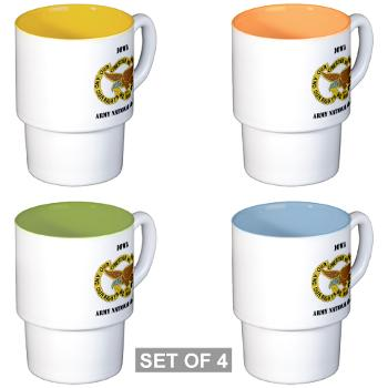 IowaARNG - M01 - 03 - DUI - IOWA Army National Guard with Text - Stackable Mug Set (4 mugs)