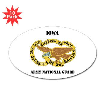 IowaARNG - M01 - 01 - DUI - IOWA Army National Guard with Text - Sticker (Oval 10 pk)
