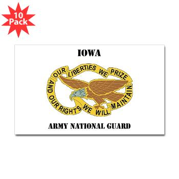 IowaARNG - M01 - 01 - DUI - IOWA Army National Guard with Text - Sticker (Rectangle 10 pk)
