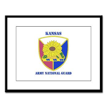 KSARNG - M01 - 02 - DUI - Kansas Army National Guard with Text - Large Framed Print
