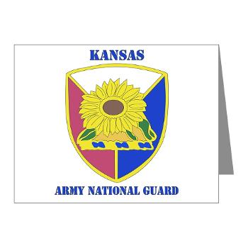KSARNG - M01 - 02 - DUI - Kansas Army National Guard with Text - Note Cards (Pk of 20)
