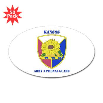 KSARNG - M01 - 01 - DUI - Kansas Army National Guard with Text - Sticker (Oval 50 pk)