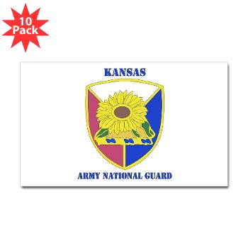 KSARNG - M01 - 01 - DUI - Kansas Army National Guard with Text - Sticker (Rectangle 10 pk)