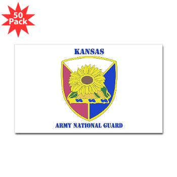 KSARNG - M01 - 01 - DUI - Kansas Army National Guard with Text - Sticker (Rectangle 50 pk)