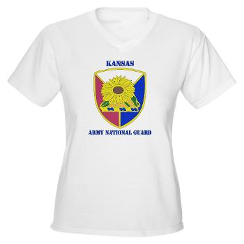 KSARNG - A01 - 04 - DUI - Kansas Army National Guard with Text - Women's V-Neck T-Shirt