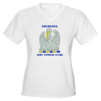LAARNG - A01 - 04 - DUI - Lousiana Army National Guard with Text - Women's V-Neck T-Shirt