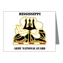 MSARNG - M01 - 02 - DUI - Mississippi Army National Guard with Text - Note Cards (Pk of 20)