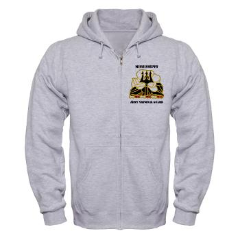 MSARNG - A01 - 03 - DUI - Mississippi Army National Guard with Text - Zip Hoodie
