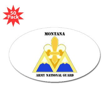 MTARNG - M01 - 01 - DUI - Montana Army National Guard with Text - Sticker (Oval 50 pk)