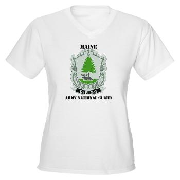 MaineARNG - A01 - 04 - DUI - Maine Army National Guard with Text - Women's V-Neck T-Shirt