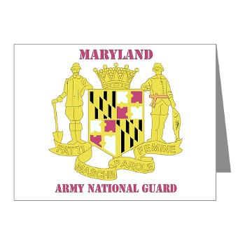 MarylandARNG - M01 - 02 - DUI - Maryland Army National Guard with Text - Note Cards (Pk of 20)