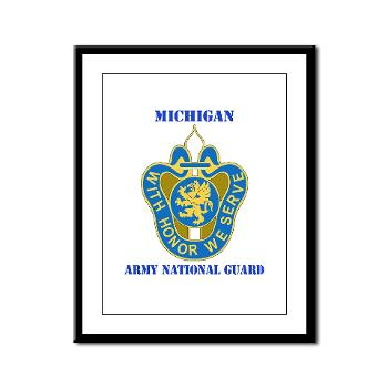 MichiganARNG - M01 - 02 - DUI - Michigan Army National Guard with Text Framed Panel Print