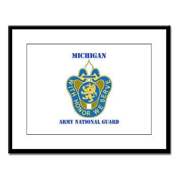 MichiganARNG - M01 - 02 - DUI - Michigan Army National Guard with Text Large Framed Print