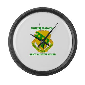 NDARNG - M01 - 03 - DUI - North Dakota Nationl Guard With Text - Large Wall Clock