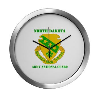 NDARNG - M01 - 03 - DUI - North Dakota Nationl Guard With Text - Modern Wall Clock