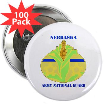 "NEARNG - M01 - 01 - DUI - Nebraska Army National Guard with Text 2.25"" Button (100 pack)"