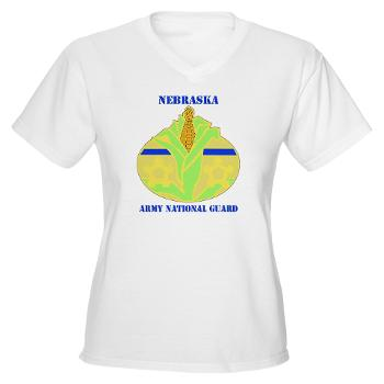 NEARNG - A01 - 04 - DUI - Nebraska Army National Guard with Text Women's V-Neck T-Shirt
