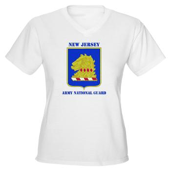 NJARNG - A01 - 04 - DUI - New Jersey Army National Guard with Text - Women's V-Neck T-Shirt