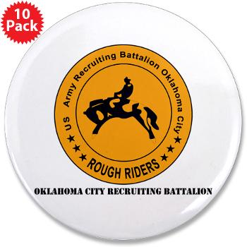 "OCRB - M01 - 01 - DUI - Oklahoma City Recruiting Bn with Text - 3.5"" Button (10 pack)"