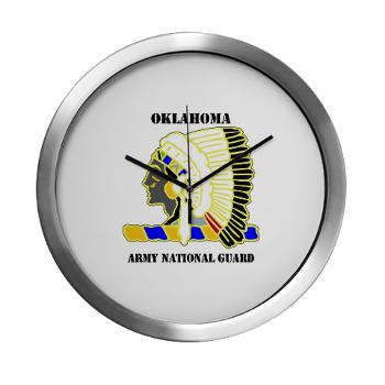 OKLAHOMAARNG - M01 - 03 - DUI - Oklahoma Army National Guard with text - Modern Wall Clock