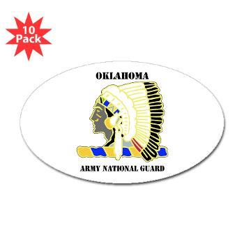 OKLAHOMAARNG - M01 - 01 - DUI - Oklahoma Army National Guard with text - Sticker (Oval 10 pk)