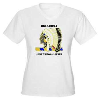 OKLAHOMAARNG - A01 - 04 - DUI - Oklahoma Army National Guard with text - Women's V-Neck T-Shirt