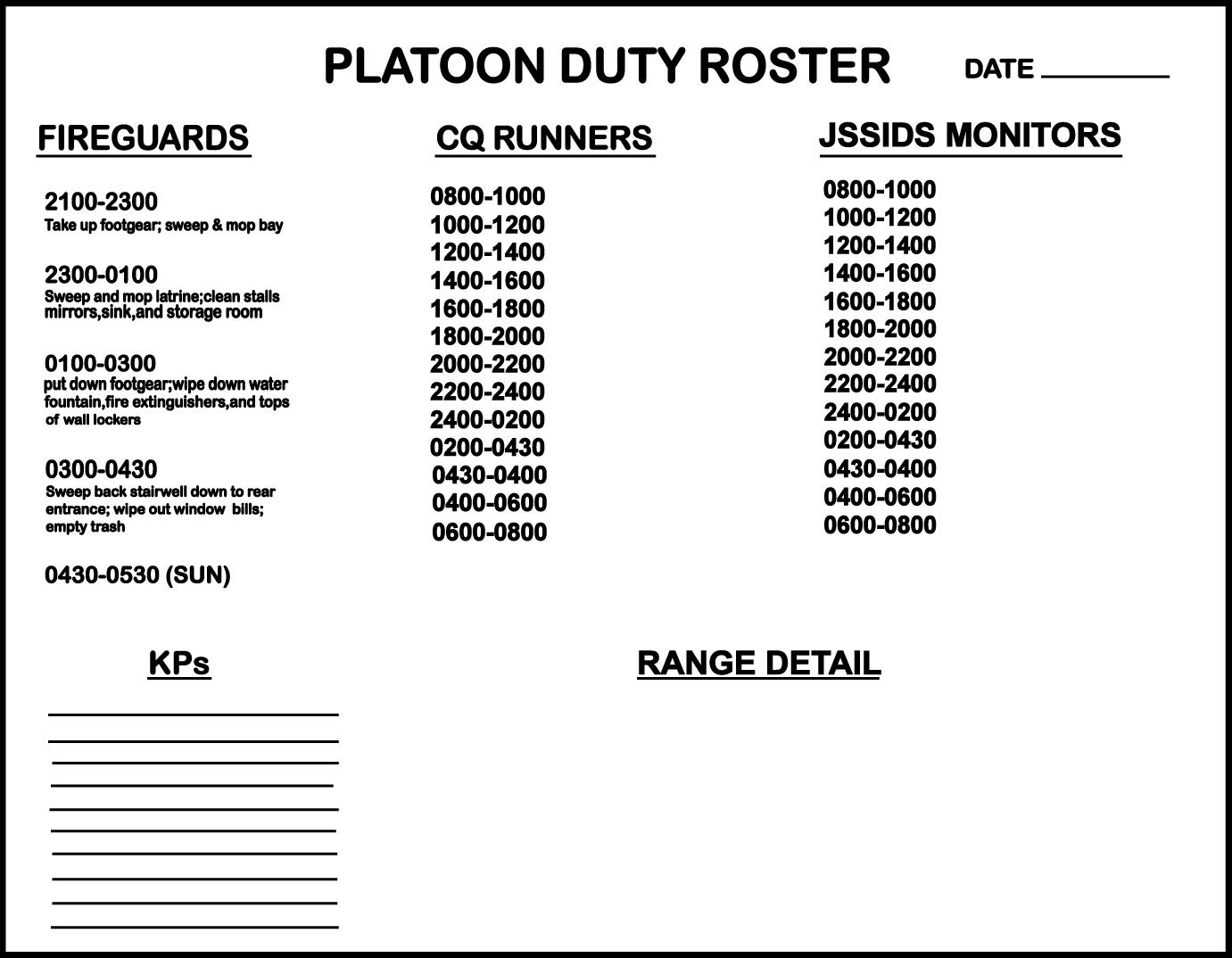 mc 0000 0000 00059 platoon duty roster ma 53 50 00 army training