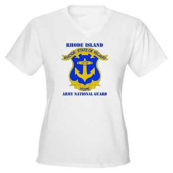 RHODEISLANDARNG - A01 - 04 - DUI - Rhode Island Army National Guard with text - Women's V-Neck T-Shirt