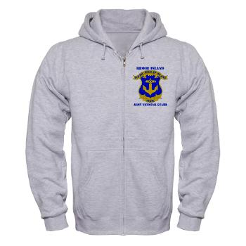 RHODEISLANDARNG - A01 - 03 - DUI - Rhode Island Army National Guard with text - Zip Hoodie