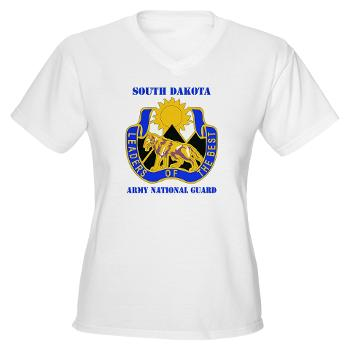 SDARNG - A01 - 04 - DUI - South Dakota Army National Guard with text - Women's V-Neck T-Shirt