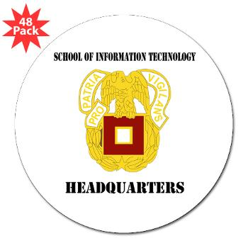 "SOITH - M01 - 01 - DUI - School of Information Technology - Headquarter with text - 3"" Lapel Sticker (48 pk)"
