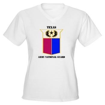 TXARNG - A01 - 04 - DUI - Texas Army National Guard with Text - Women's V-Neck T-Shirt